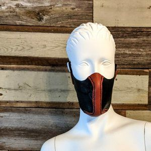 Red And Black Hand Stitched Leather Face Mask NWT